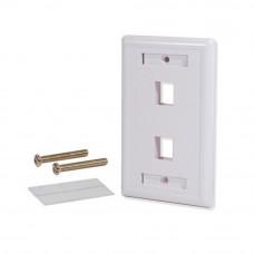 Tapa de 2 puertos color blanca para cableado estructurado.