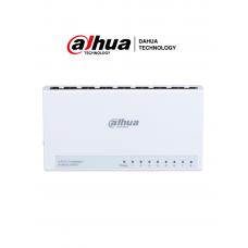 DAHUA DH-PFS3008-8ET-L - Switch para Escritorio de 8 Puertos Fast Ethernet/ 10/100/ Diseño Compacto/ Capa 2/ switching 1.6 Gbps/ Velocidad de Reenvio de Paqutes 1.19 Mbps/