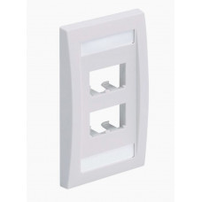 Placa de Pared Vertical Ejecutiva, Salida Para 4 Puertos Mini-Com, Con Espacios Para Etiquetas, Color Blanco Mate