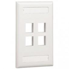 Placa de Pared Vertical, Salida Para 4 Puertos Keystone, Con Espacios Para Etiquetas, Color Blanco