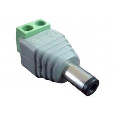 Conector macho para fuente de poder / Resistente a la oxidación / Bloque para atornillar positivo y negativo