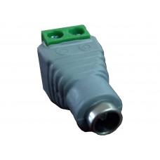 Conector hembra para fuente de poder / Resistente a la oxidación / Bloque para atornillar positivo y negativo
