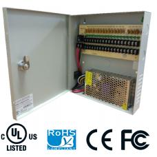 Fuente de poder regulada 12 v / 10 Amperes / Con distribuidor para 18 cámaras / 0.55 A MP Por canal / Certificación UL