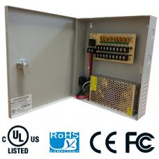 Fuente de poder regulada 12V / 10 Amperes / Distribuidor para 9 cámaras / 1.1 A MP Máximo por canal / Certificación UL
