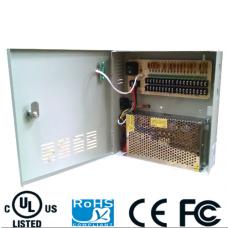Fuente de poder 12V CD / 20 Amperes / Distribuidor para 18 cámaras / Certificacion UL