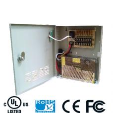 Fuente de poder regulada 12V CD / 20 Amperes / Distribuidor para 9 camaras / 2.22 A MP Por canal / Certificacion UL