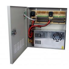 Fuente de poder 12V CD / 30 Amperes / Distribuidor para 18 camaras / 1.65 Amperes por canal / Ce / FCC / Certificacion UL