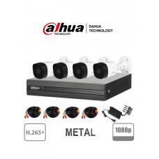 DAHUA COOPER XVR1B04KITII - Kit 4 canales 2 Megapixeles/ 4 Camaras B2A21 1080p Metalicas / DVR De 4 canales H265+ 1080p Lite/ 1 Ch IP Adicional/ IR 20M / Accesorios #GANO