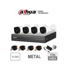 DAHUA COOPER XVR1A044B2A11 - Kit de 4 Canales 1 Megapíxel/ 4 Cámaras B2A11 720p Metálicas/ DVR de 4 Canales H.264 1080p Lite/ 1 Ch IP Adicional/ IR 20 mts/ IP67/ Accesorios/